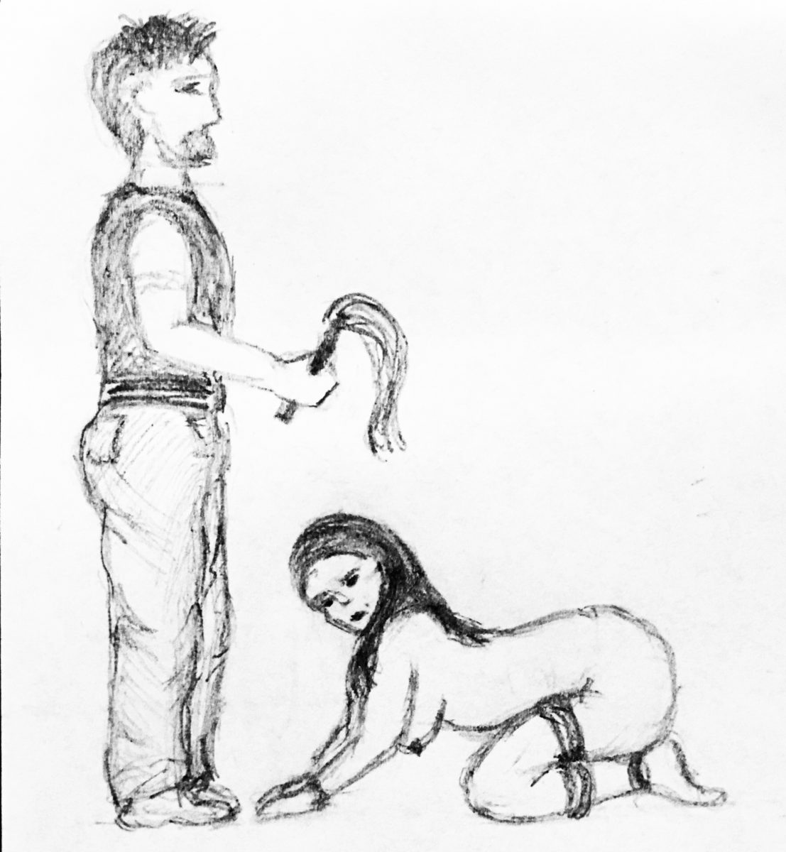 Sketch of bearded man in jeans wielding flogger and naked woman tied on her knees