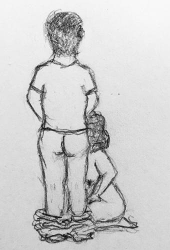 Sketch of rear view of man with trousers down and naked woman kneeling in front of him