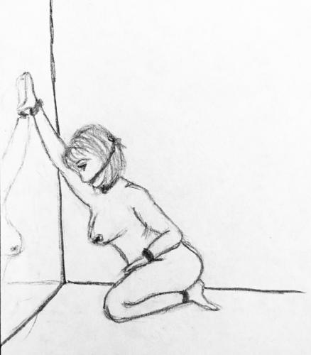 Sketch of tied and gagged woman on her knees in front of mirror