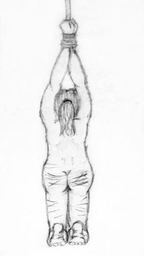 Sketch of rear-view of a woman on her knees with her arms tied above her head and lash marks on her buttocks and legs