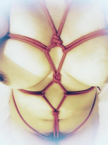 Chest harness in red bondage rope on bare skin